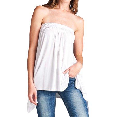 9737c5831 Loving People - Loving People Handkerchief Asymmetrical Hem Tube Top Flared  Loose Fit Strapless Tunic Shirt, White, Large - Walmart.com