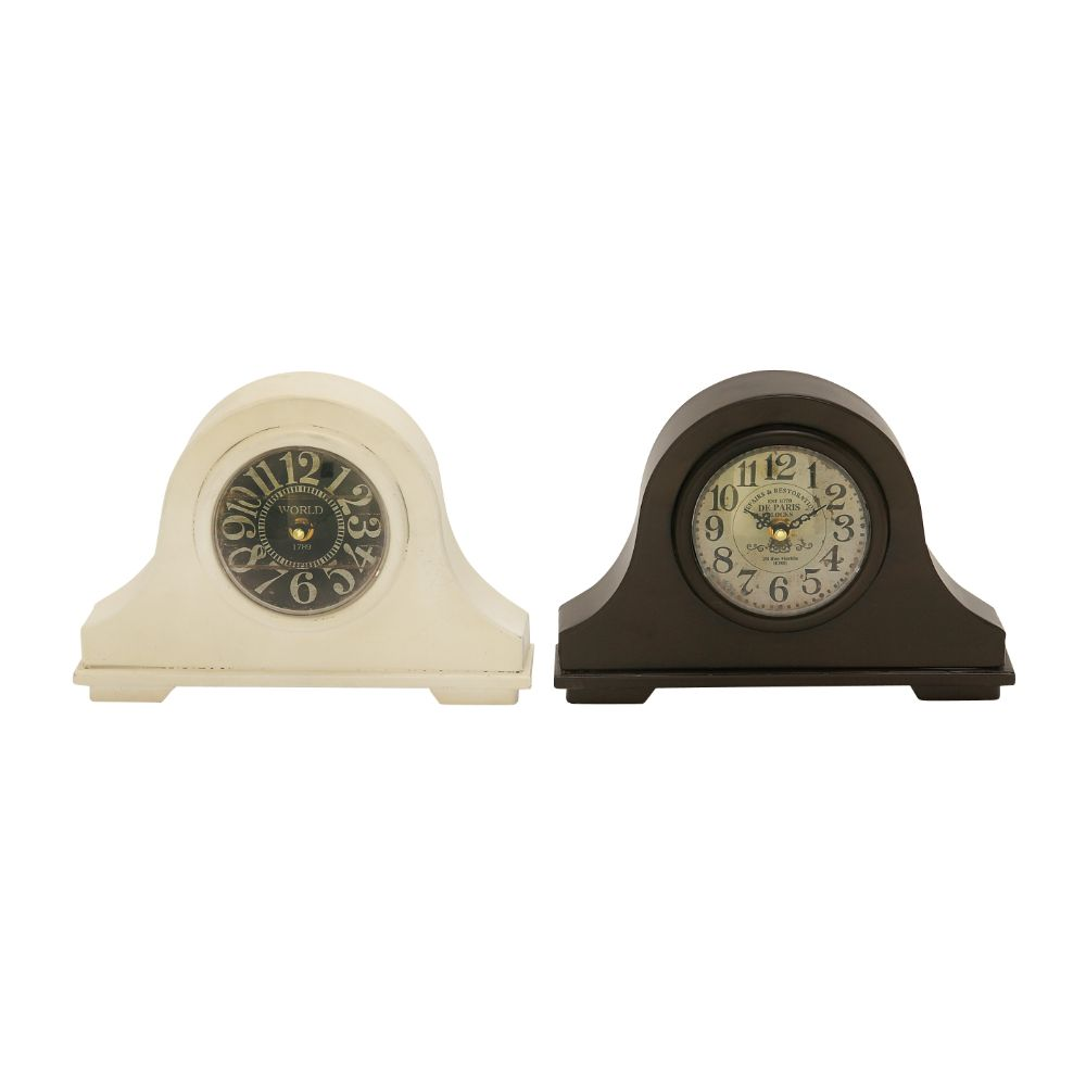 Metal Table Clock Assorted 2 by Benzara