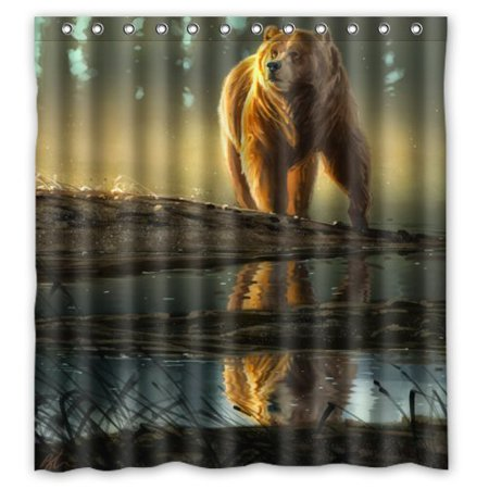 GreenDecor Night Grizzly Bear Animal Art Waterproof Shower Curtain Set With Hooks Bathroom Accessories Size 66x72 Inches