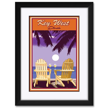 Key West Florida Adirondack Chairs Palms White Wine Framed & Matted Art Print by Joanne Kollman. Print Size: 12