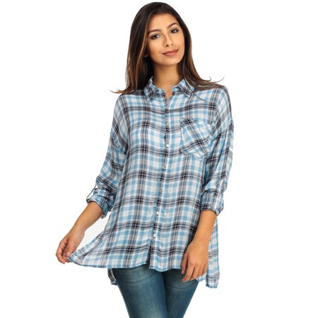 Womens Juniors Long Sleeve Plaid Button Down Shirt Blue