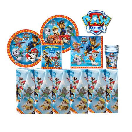 Paw Patrol Party Supplies Pack 16 Guests: Plates, Cups, Napkins, Invitations, Table Cover - Princess Party Plates And Cups