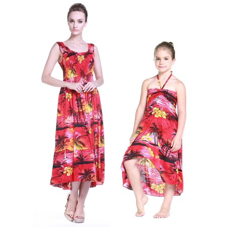 Mother & Daughter Matching Hawaii Luau Maxi Plus size Dress Girl Butterfly  in Sunset Red 2