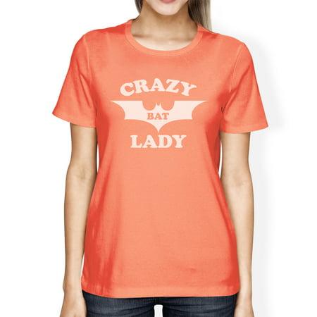 Crazy Bat Lady T-Shirt Womens Peach Graphic Tshirt For Halloween (Peaches New Orleans Halloween)