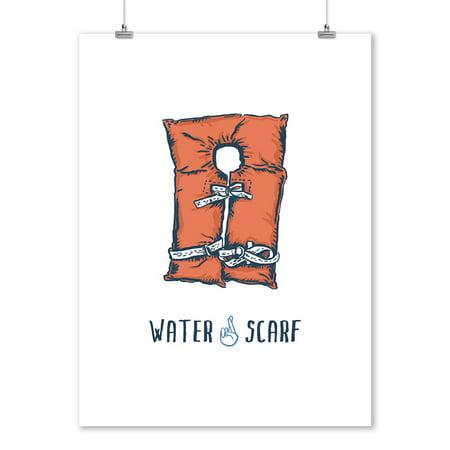 Life Preserver - Water Scarf - Catch Phrases - Lantern Press Artwork (9x12 Art Print, Wall Decor Travel Poster) - Life Preserver Decor