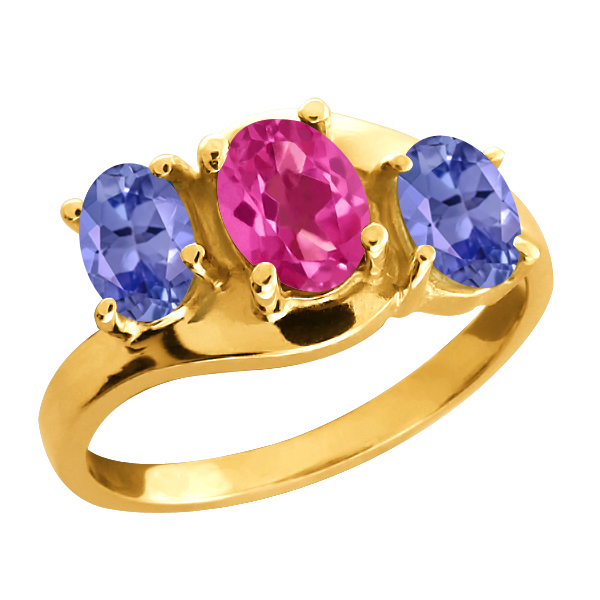 1.85 Ct Oval Pink Mystic Topaz and Blue Tanzanite 18k Yellow Gold Ring by