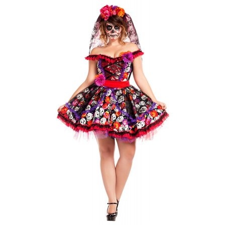 Lady of the Dead Adult Costume - Plus Size 2X](Day Of The Dead Costume Party City)
