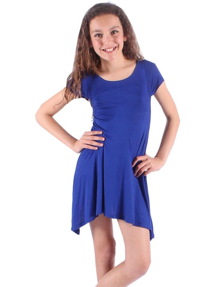 Lori&Jane Girls Royal Blue Solid Color Short Sleeved Trendy Tunic Top