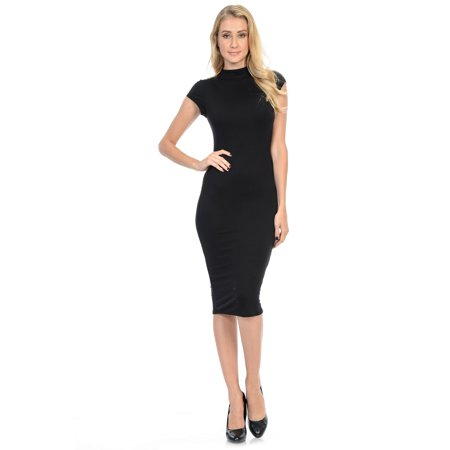 Stretch Fitted Club Cocktail Dresses: Evening Party Mock Neck Cap Sleeve (Women's Cap Sleeve)