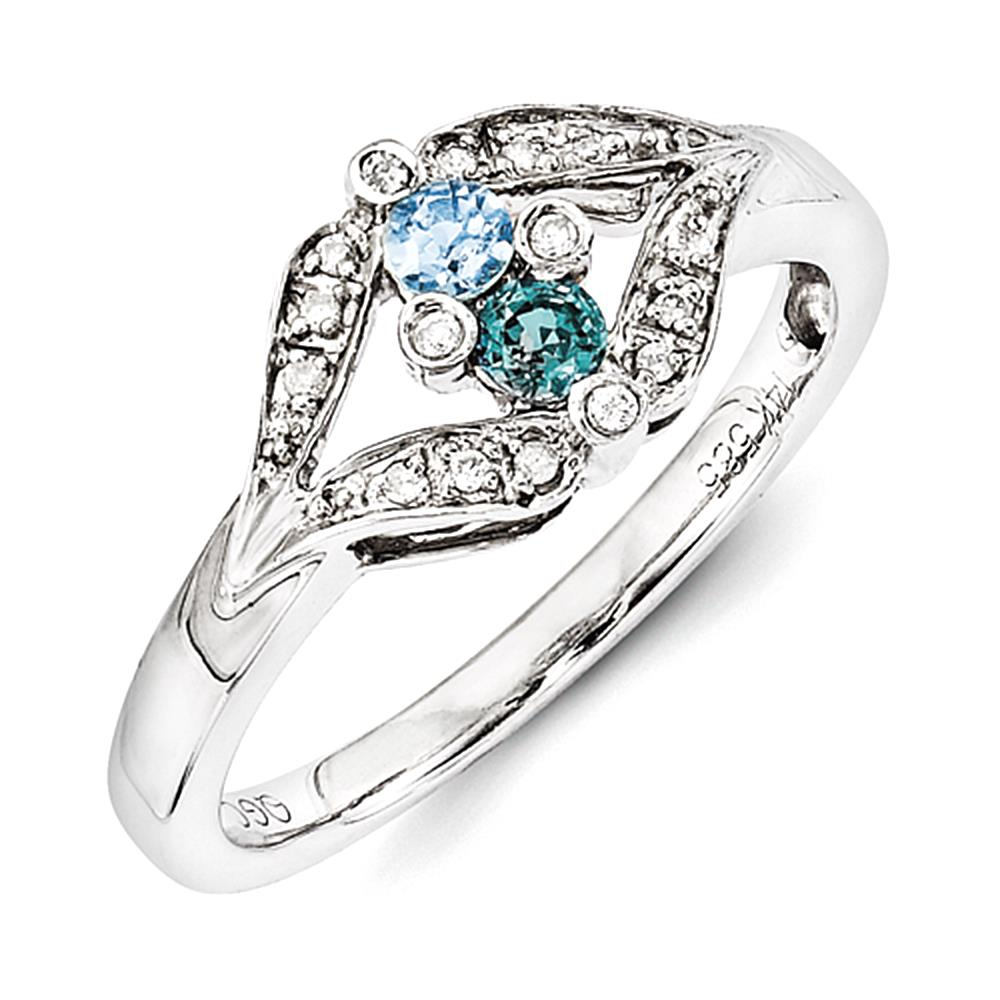 14KW Family Jewelry Genuine Stone & Diamond Set Ring size 11.5