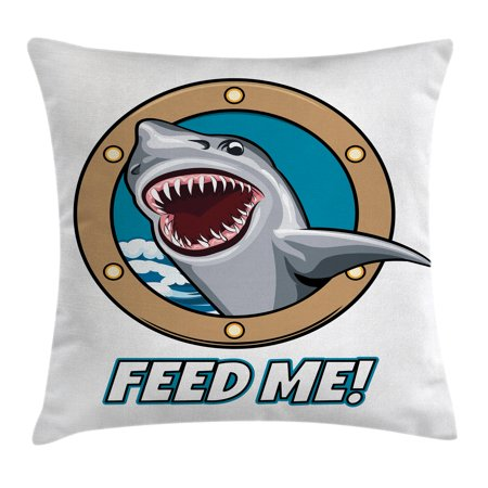 Sea Animal Decor Throw Pillow Cushion Cover, Funny Vintage Quote with Hungry Hound Shark Head in Ship Window Humor Print, Decorative Square Accent Pillow Case, 16 X 16 Inches, Multi, by Ambesonne