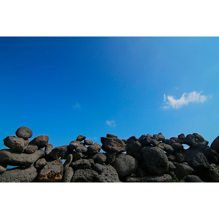 Canvas Print Jeju Island Sky Sea Beach Stone Wall Cozy Seopji Stretched Canvas 10 x