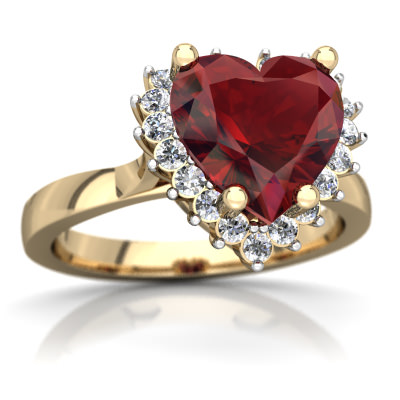 Garnet Halo Heart Ring in 14K Yellow Gold by