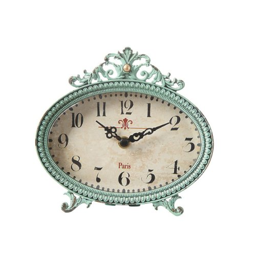 6 by 6 inch Pewter Table Clock, Aqua, Body is made from real pewter. By Creative Coop