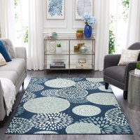"""Mohawk Home Aurora Foliage Friends Blue Contemporary Floral Printed Scatter, 1'8""""x2'10"""", Blue"""