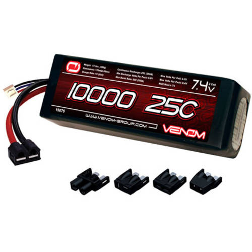 Venom LiPo Battery for Traxxas Slash 1:10 25C 7.4 10000mAh 2S with Universal Plug