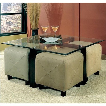 Coaster Cermak Contemporary Square Black Metal Base Glass Top Cocktail Table