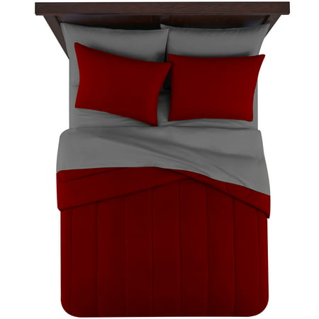 Mainstays 6 Piece Solid Bed in a Bag Bedding Comforter Set, Twin, Red