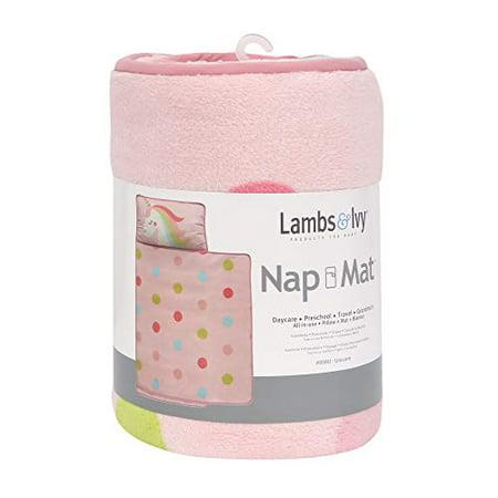 Lambs & Ivy Female Pink Polka Dot Unicorns Rainbow Polyester Blend Nap Mats, Washable