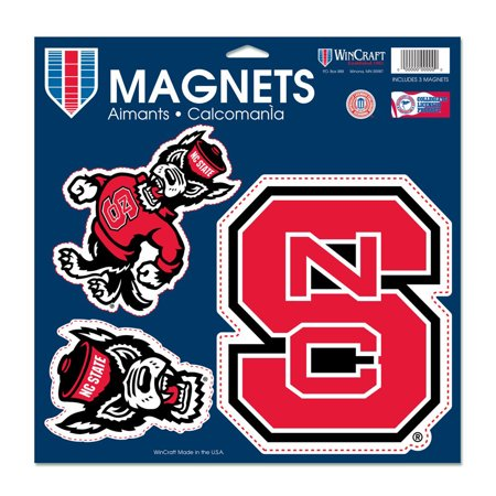 """NC State Wolfpack WinCraft 11"""" x 11"""" 3-Pack Car Magnet Set - No Size"""