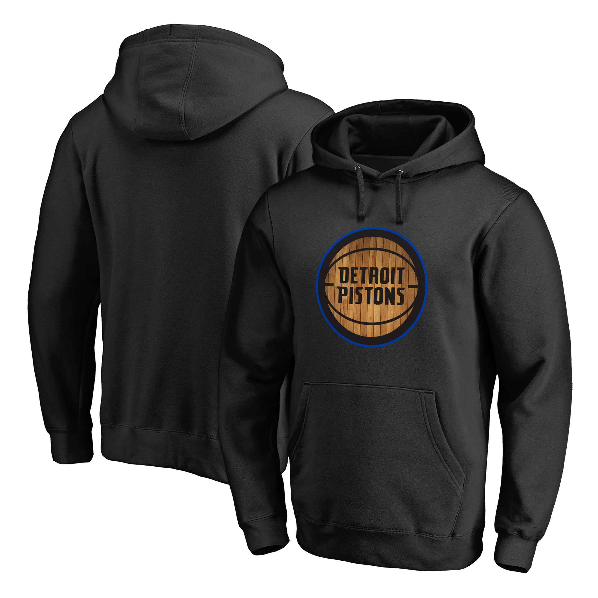 Detroit Pistons Fanatics Branded Hardwood Big & Tall Pullover Hoodie - Black - 4XB