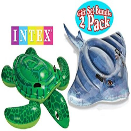 Intex Pool Floats Sea Turtle Ride-On & Stingray Ride-On Gift Set Bundle - 2 Pack