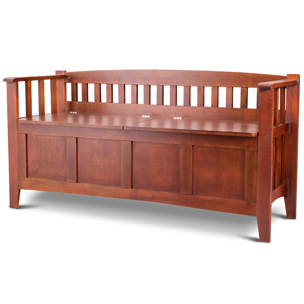 Gymax Brown 32 Gallon Solid Wood Entryway Storage Bench Home Furni W/Short Split Seat