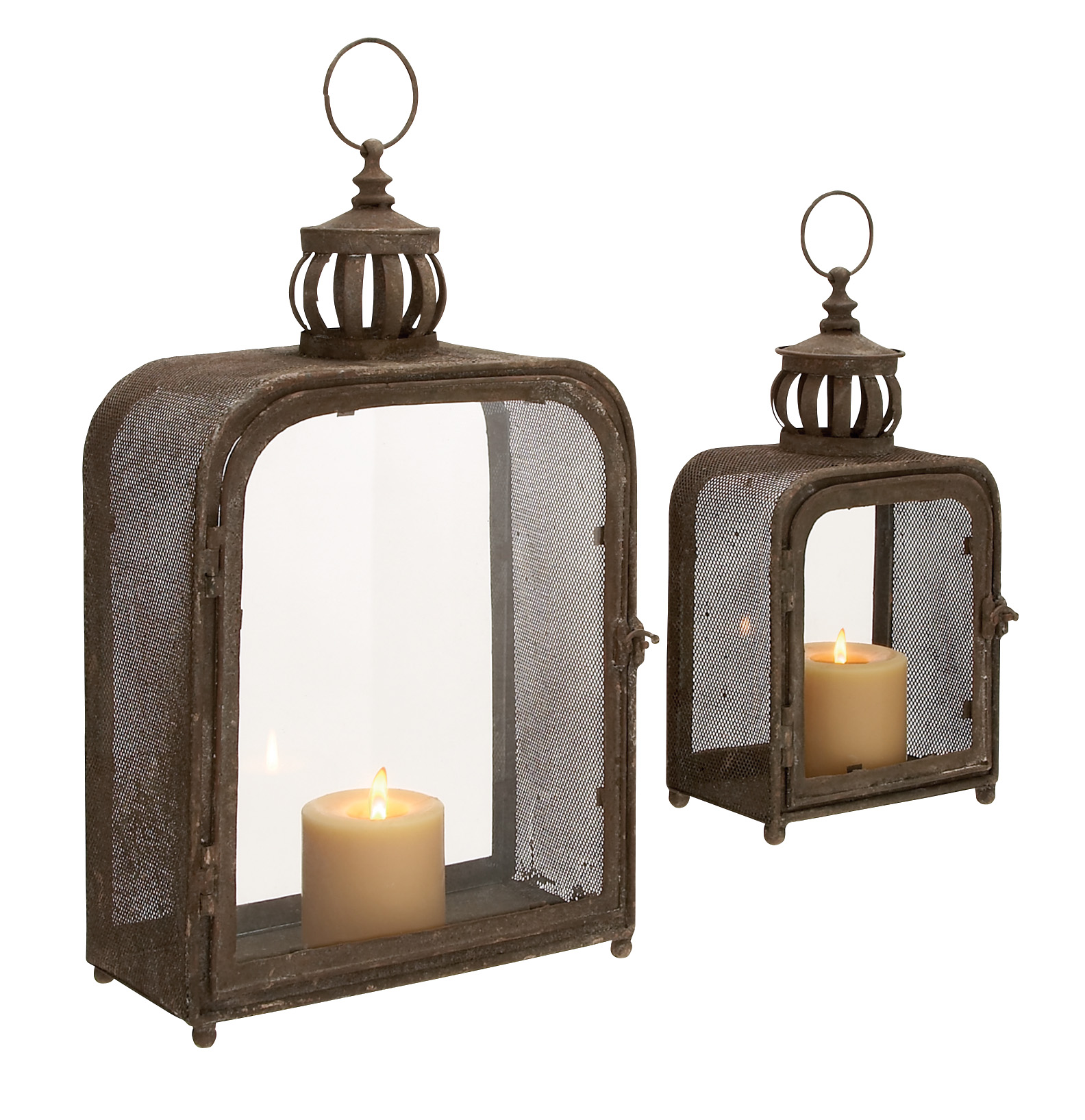 Decmode Metal and Glass Lantern, Set of 2, Multi Color