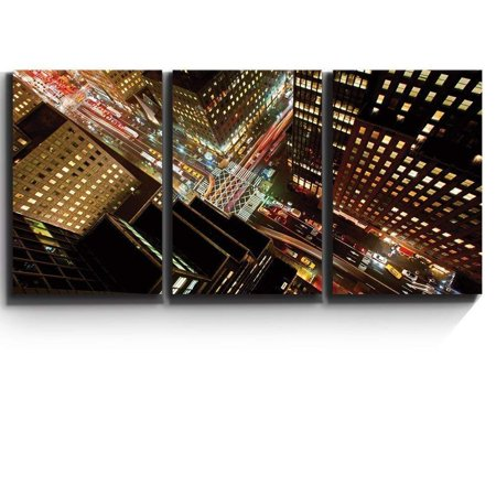 wall26 3 Piece Canvas Print - Contemporary Art, Modern Wall Decor - Eagle Eye View of 42nd Street in New York City - Giclee Artwork - Gallery Wrapped Wood Stretcher Bars 24