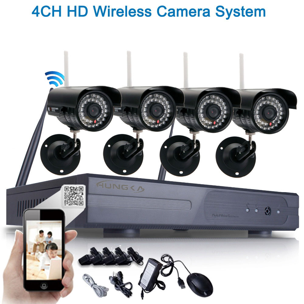 Ktaxon 4pcs HD 720P WIFI Wireless IP Camera System 8CH NVR Outdoor Security Home Video Without Hard Drive