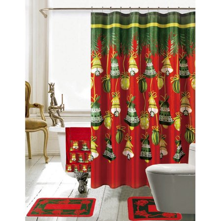 The Holiday Aisle Christmas Bathroom Decor 18 Piece Red Green Shower Curtain Set