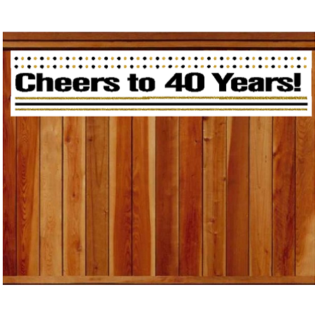 Item#040CIB 40th Birthday / Anniversary Cheers Wall Decoration Indoor / OutDoor Party Banner (10 x 50inches)](40th Birthday Banners)