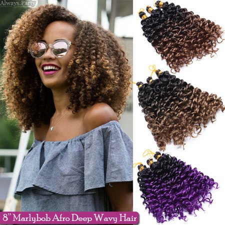 S-noilite 14 Inches Afro Marley Bob Crochet Hair Full Head Hair Marlibob Crochet Braids Hair Extension Kinky Curly Afro Kinky Bundle Wand Curly Dreadlocks Water Wave Dark Wine Red (Best Hair Length For Dreadlocks)