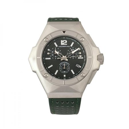 Morphic MPH5502 M55 Series Chronograph Leather Band Watch with Date - Silver & Green - image 1 de 1