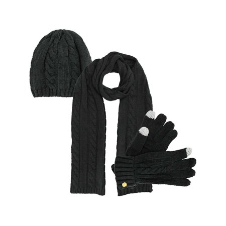 Cable Knit 3 Piece Beanie Hat Texting Gloves & Matching Scarf Set - Black Light White Gloves