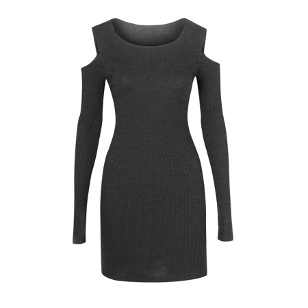 38d35ed2ee3 Hot From Hollywood - Women s Ribbed Open Shoulder Long Sleeve Bodycon Dress  - Walmart.com