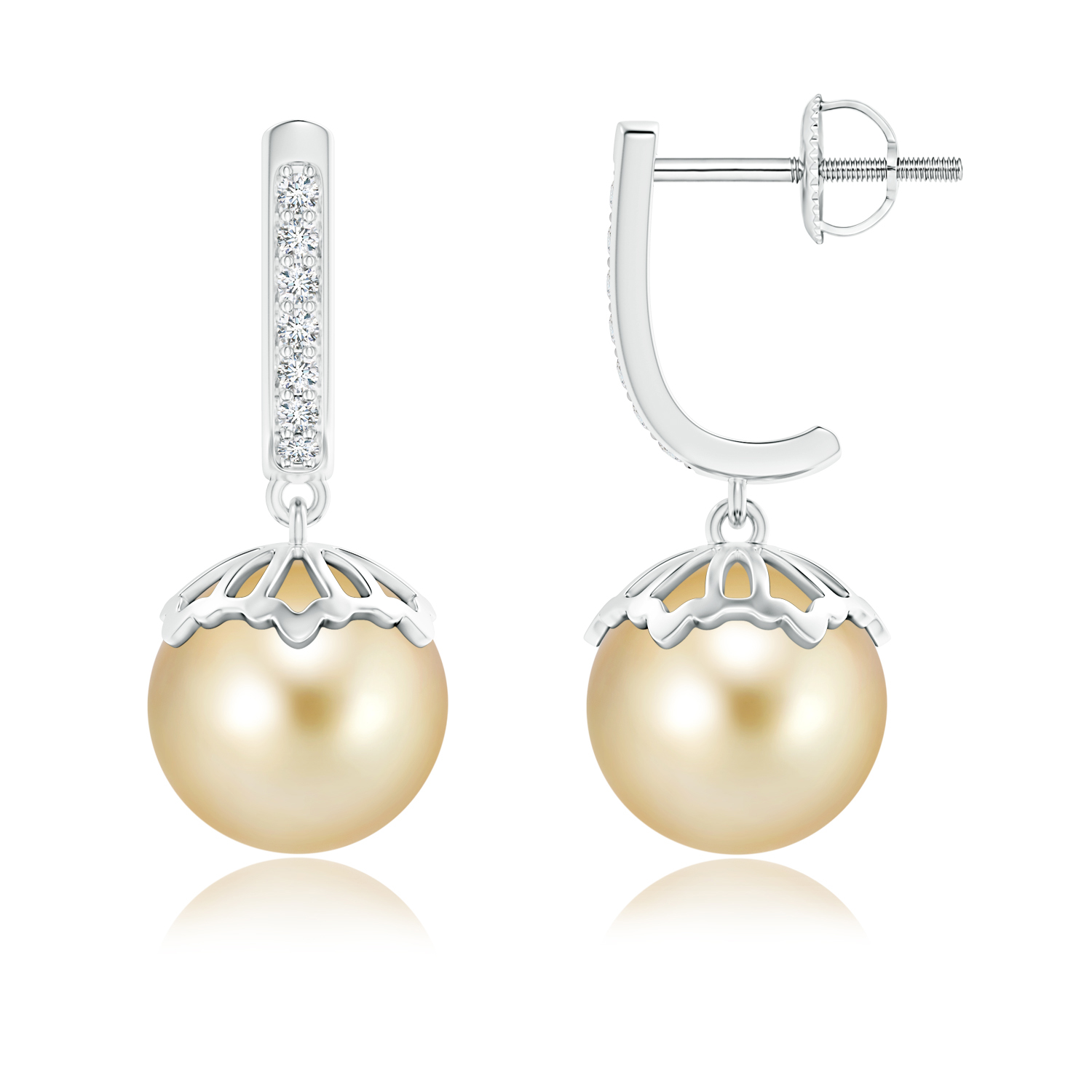 Angara Classic South Sea Cultured Pearl and Sapphire Earrings