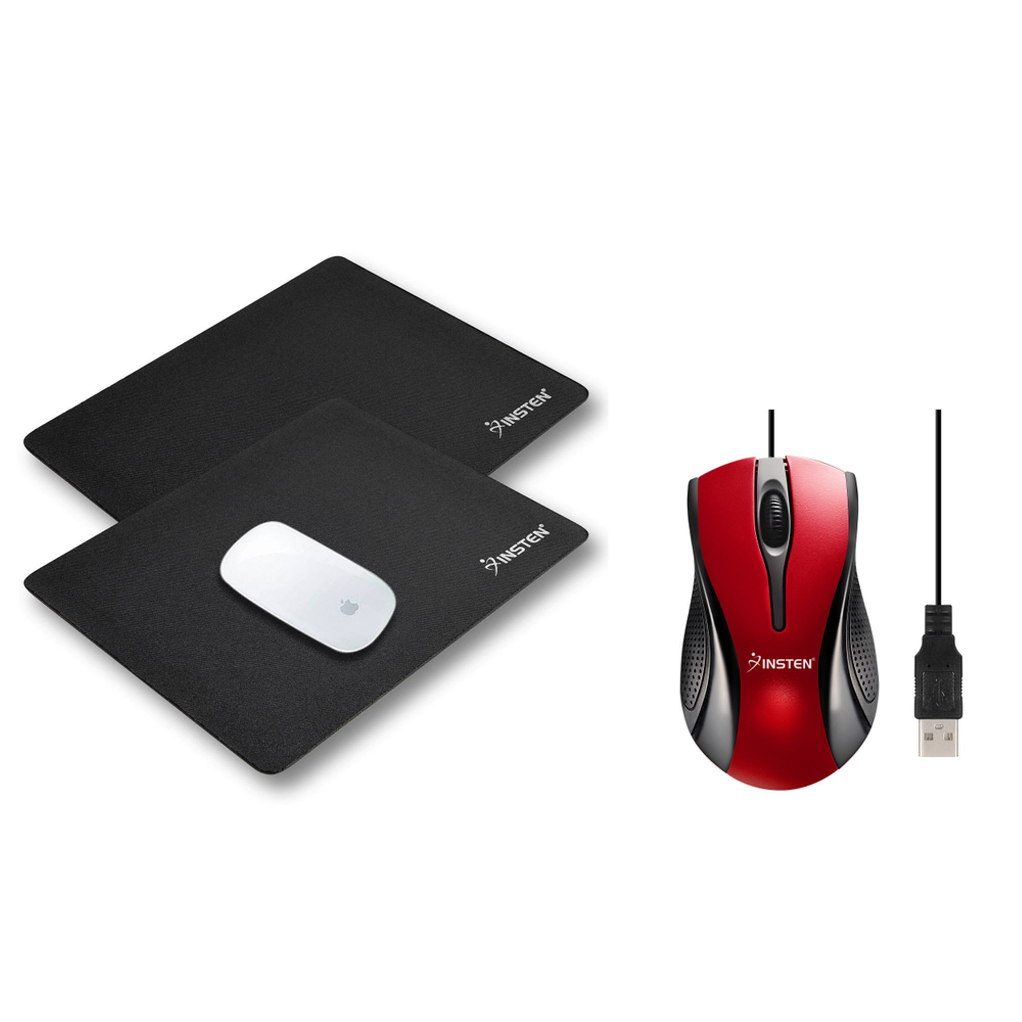 Insten 2pcs Mouse Pad for Laptop Computer Desk Black + Wired Optical Mouse USB Scroll Wheel Black/Red