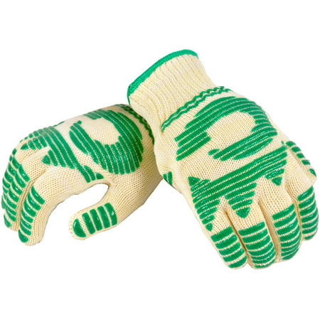 Check Oven Mitt (G & F Heat-Resistant Oven Gloves with Flexible 5-Finger Oven Mitt)