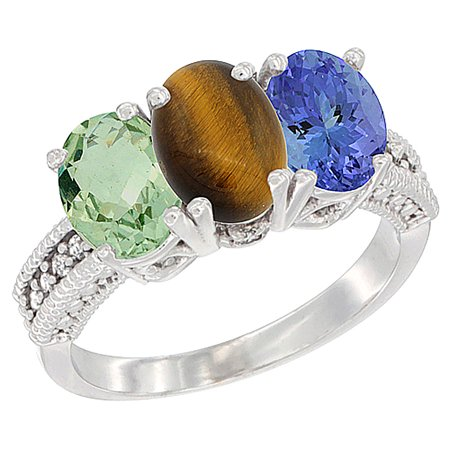 14K White Gold Natural Green Amethyst, Tiger Eye & Tanzanite Ring 3-Stone 7x5 mm Oval Diamond Accent, sizes 5 - (Amethyst Tiger)