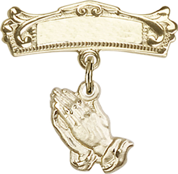 Baby Badge Pin with Praying Hands Charm on Arched Polishe...