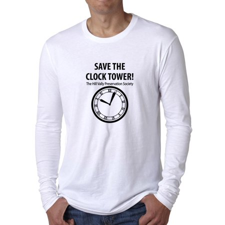 1923126e Hollywood Thread - Save The Clocktower - Hill Valley Preservation Society  Men's Long Sleeve T-Shirt - Walmart.com