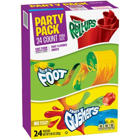 Betty Crocker® Party Pack Variety Pack of Mini Size Fruit Roll-Ups Fruit By The Foot and Gushers 24 ct Pouches