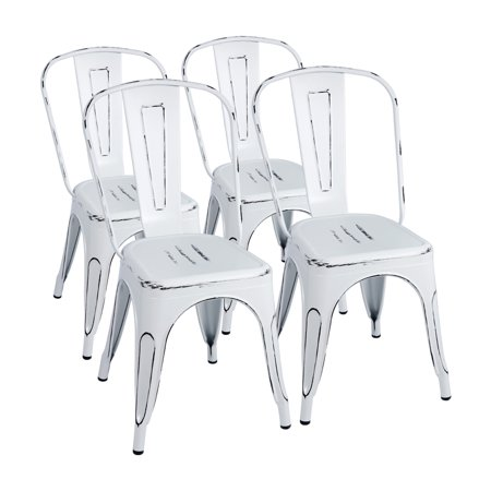 Walnew Set of 4 Distressed Style Stackable Kitchen Dining Bistro Cafe Metal Chairs,Distressed White ()