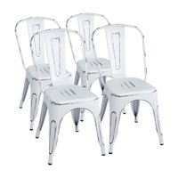 Walnew Metal Indoor-Outdoor Chairs Distressed Style Kitchen Dining Chair Stackable Side Chairs with Back Set of 4 (Distressed White)