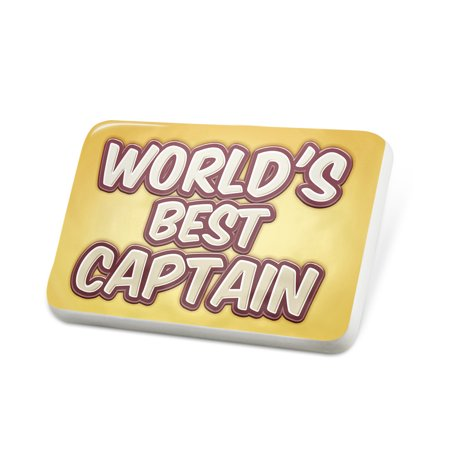 Porcelein Pin Worlds best Captain, happy yellow Lapel Badge – (Best Captain In The World)