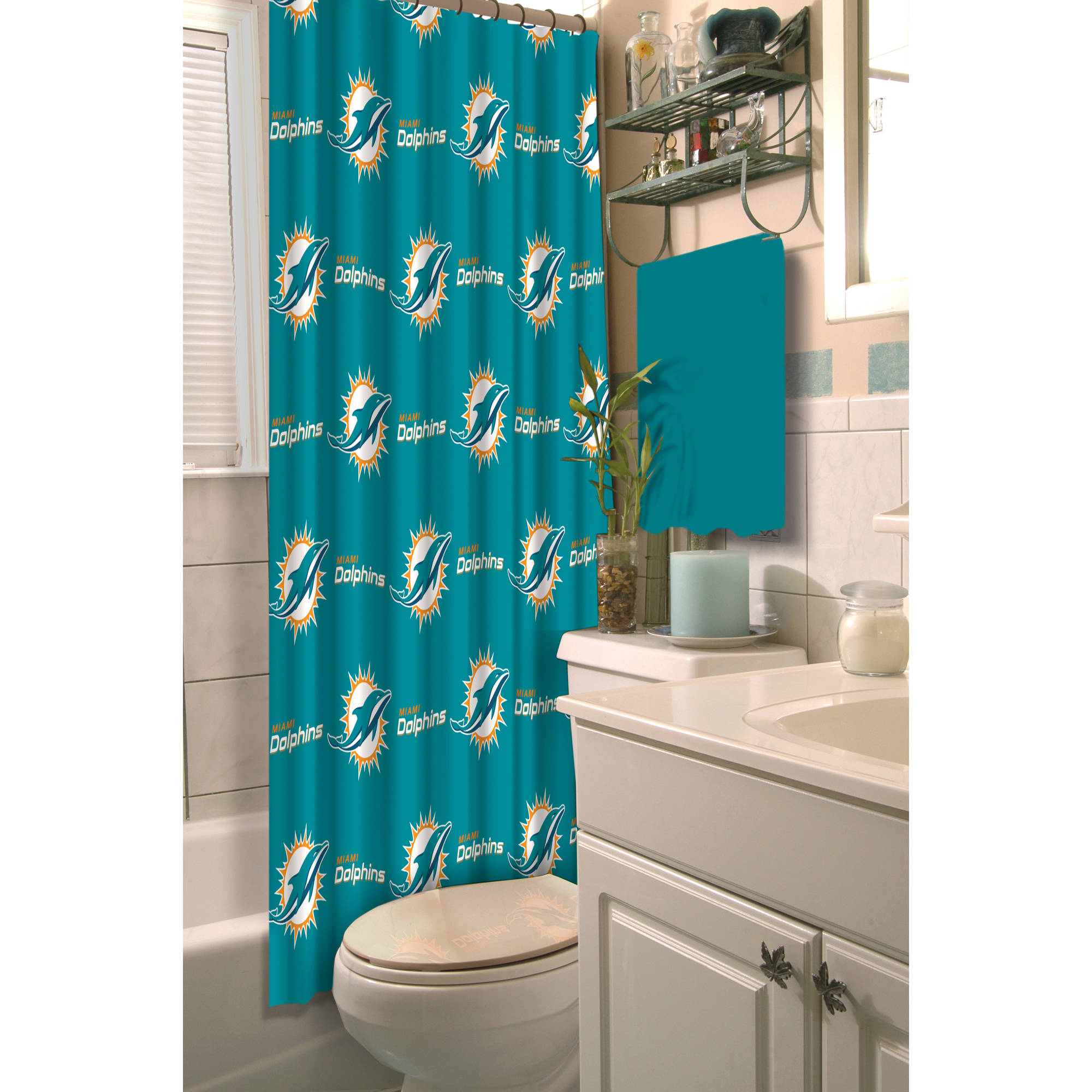 Bathroom Accessories Miami nfl miami dolphins decorative bath collection - shower curtain