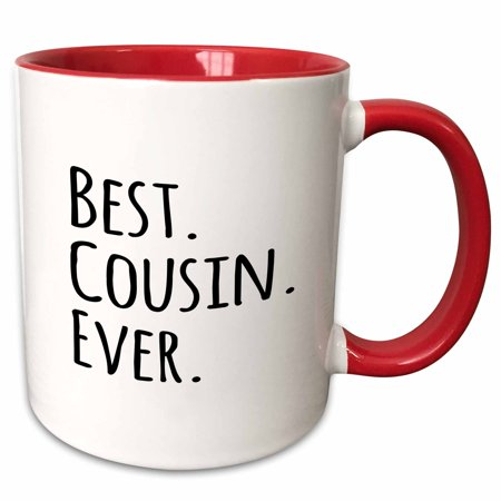 - 3dRose Best Cousin Ever - Gifts for family and relatives - black text - Two Tone Red Mug, 11-ounce