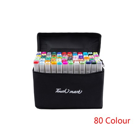 80 Colors Dual Tips Permanent Marker Pens Art Gel Markers Highlighters with Carrying Case for Drawing Sketching Adult Coloring Highlighting and Underlining ()