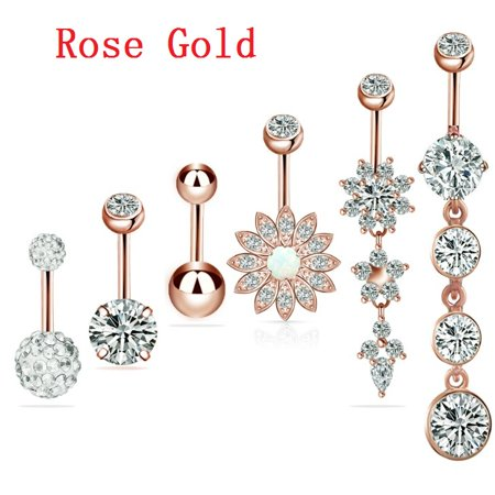 6pcs Belly Button Ring Surgical Steel Hypoallergenic Lead And Nickel Free 14 Gauge Navel Piercing Body Jewelry